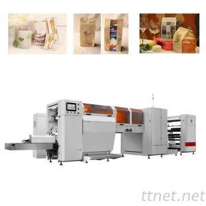 RZJD-G350J 500Pc/Min High Speed Roll Feeding Plastic Window V Bottom Bread Paper Bag Making Machine
