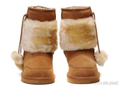 Women Sheepskin Cuff Short Black Boots