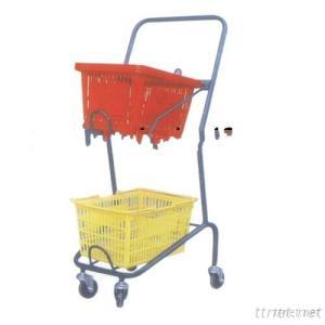 Powder Coating Double Layers Rolling Shopping Basket Cart