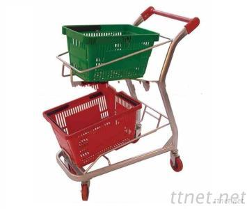 Double Layers Chrome Plated Shopping Basket Cart