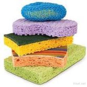 Kitchen Sponge Scrubber/ Cellulose Sponge+ Fiber