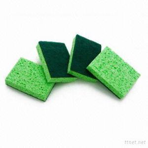 Kitchen Sponge Scrubber/ Cellulose Sponge+ Fiber
