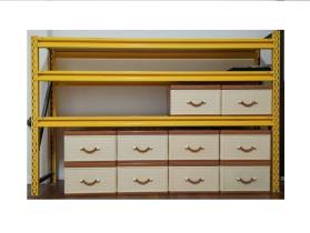 Multifunctional color yellow storage shelf set