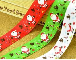 Custom 100% Polyester Ribbon Gold Printing Holidays Gift Ribbon