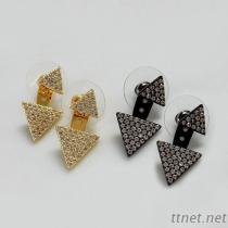 Cubic Zirconia 2 in 1 Triangle Shape Stud Earrings