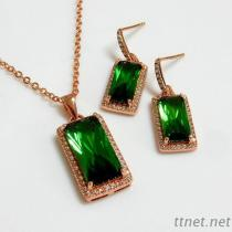 Emerald Cut Rose Gold Pendant and Earrings Fashion Jewelry Set