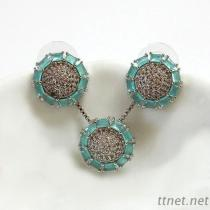 Circle Pendant And Earrings Fashion Jewelry Set
