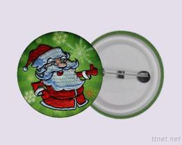 Santa, Christmas, Embroidery Botton Badge