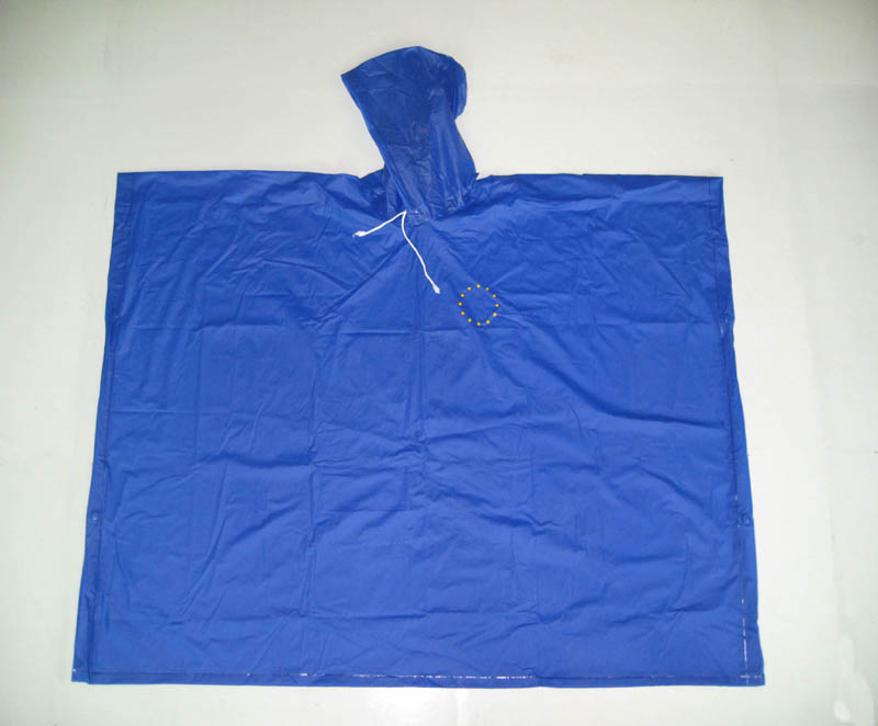 High Quality Photo - blue adult pvc rain poncho