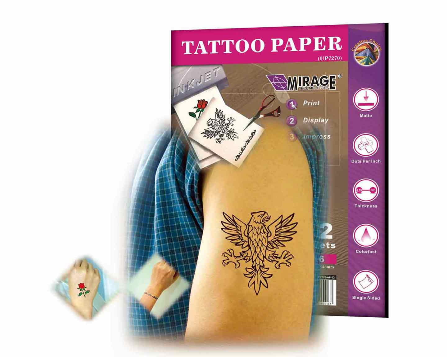 Body Tattoo Paper A6 12 Sheets
