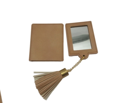 Fashion Pu Leather Minin Pocket Makeup Mirrors with tassels