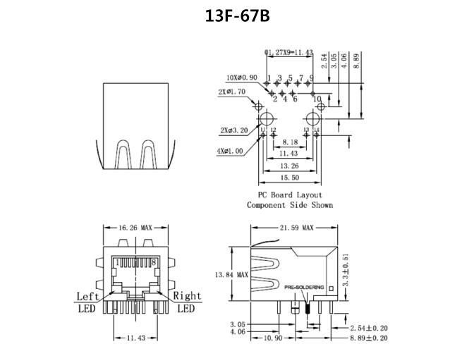 wangbasenvshiping_poe rj45 单埠 100 / 1000 base-tx poe & poe  rj45变压器模块