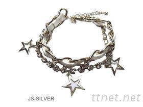 白色皮革星星手環