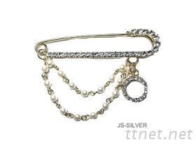 珍珠金色銅別針