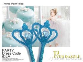 水藍蔥粉王冠型仙女棒權杖