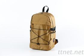 獨家訂製防潑水耐重多口袋筆電網繩交叉後背包-卡其