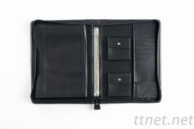 精製車縫黑色水波紋交屋拉鍊包