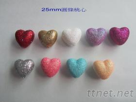 25mm金蔥桃心