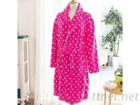 珊瑚絨浴袍-桃紅點點