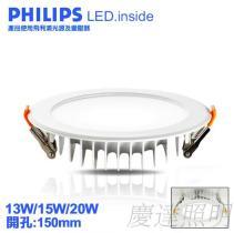 13W/15W/20W 開孔150mm LED薄型崁燈(飛利浦光源+飛利浦變壓器)