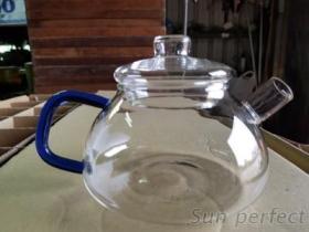 680高硼硅耐熱玻璃花茶壺藍色手把凸蓋
