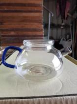 680高硼硅耐熱玻璃花茶壺藍色手把平蓋 (T-680高硼硅耐熱花茶壺)