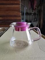 360高硼硅耐熱玻璃咖啡壺粉紅色方形手把-蓋子
