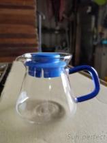 360高硼硅耐熱玻璃咖啡壺藍色方形手把-蓋子