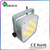 新款9颗15W五合一LED无线电池帕灯 舞台灯光 无线平板帕灯