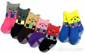 7707-3D俏皮小貓毛巾防滑襪