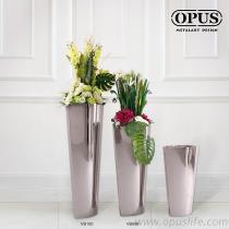 不锈钢艺术 猫眼花器 大型落地花瓶-镜面 金属花瓶
