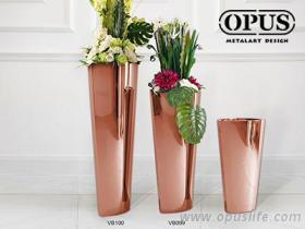 不鏽鋼藝術 猫眼花器 大型落地花瓶-鈦金 藝術花瓶