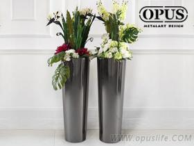 不锈钢艺术 圆锥花器 大型落地花瓶-黑色 橱窗展示