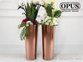 不锈钢艺术《圆锥花器》大型落地花瓶-钛金 金属艺术
