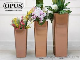 不鏽鋼藝術《圓角錐形花器》大型落地花瓶-鈦金, 佈置, 室內花瓶