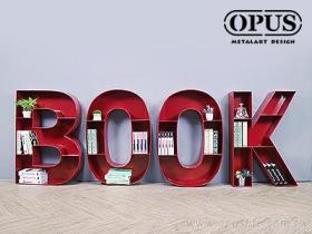 OPUS 英文壁飾落地書架 BOOK書櫃 書店 圖書館 民宿 旅店 大型藝術品 鐵藝術作品