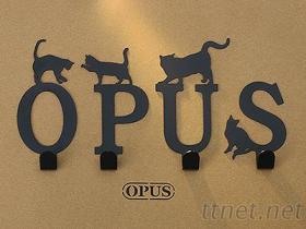 OPUS欧式铁艺-壁饰挂勾 当猫咪遇上字母 经典黑 造型挂钩无痕