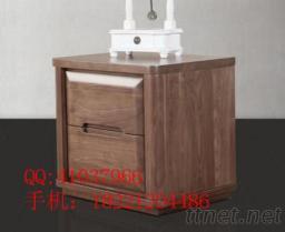 黑胡桃實木新款床頭櫃臥室家具