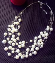 韓版時尚多層珍珠鎖骨項鏈 頸鏈