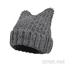 新款兔子耳朵女款可愛針織帽, 毛線帽, 冷帽, 冬天保暖帽定做
