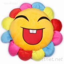 可爱七彩太阳花割绒抱枕、靠垫
