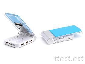摺疊手機座HUB+讀卡機 USB2.0