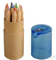 彩色鉛筆附削筆器牛皮紙圓筒盒
