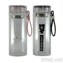 小熊雙層手提玻璃杯