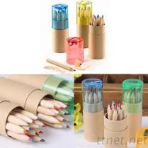 桶装12色木桶色铅笔