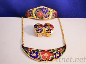 景泰藍項鍊、手環、耳環造型組