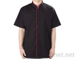 #9778 廚師服-薄黑/領、前襟滾紅短袖-單黑釦