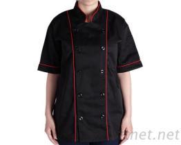 #9779 廚師服-薄黑 領、短袖滾紅雙并-雙黑釦