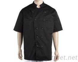 #9769 廚師服-黑/中山領短袖-雙黑釦