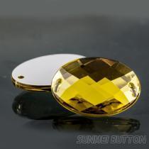 流行飾品配件橢圓龜面邊雙孔壓克力手縫水鑽
